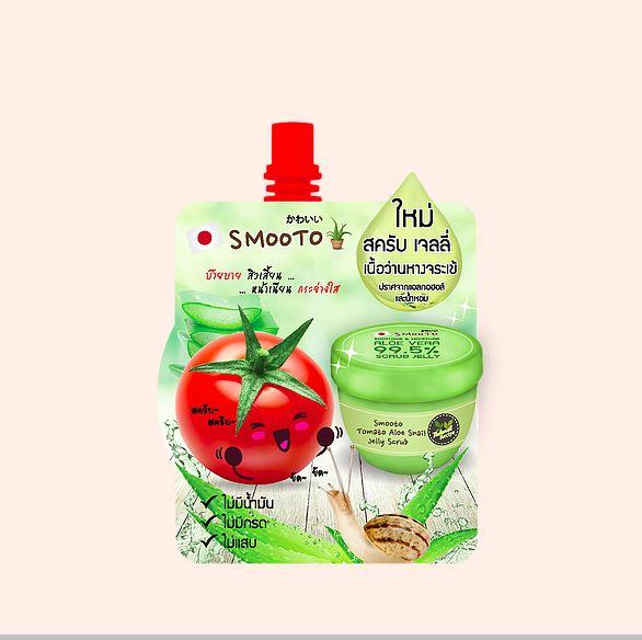 สครับผิวหน้า Smooto Tomato Aloe Snail Jelly Scrub